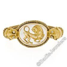 Ilias Lalaounis 18k Gold Crystal Plaque Lion Head Statement Cuff Bangle Bracelet