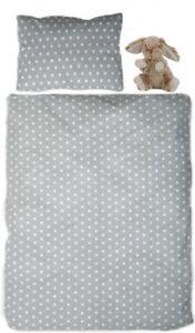 Kinderbettwäsche 90x120 cm & Plüsch Figur Babybettwäsche Muster Sterne Baumwolle