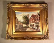 "Framed Spohler School Antique Oil Painting on 10"" x 8"" Panel~View of Amsterdam"