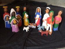 RARE Josefina ? Aguilar LARGE Nativity Set 12 Piece Mexican Oaxaca Folkart WOW!