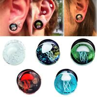 Pair Jellyfish Flesh Tunnels Glass Ear Plugs Ring Gauges Earrings Body Piercing