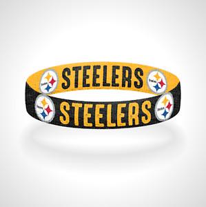 Reversible Pittsburgh Steelers Bracelet Wristband Steel Curtain Here We Go