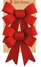 2 Glitter Bows Red Christmas Decoration Present Christmas Tree Festive Wedding