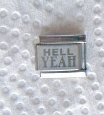 """""""HELL YEAH"""" ON SILVER 9MM  CHARM-FUNNY, HUMOR, YES, SURE"""