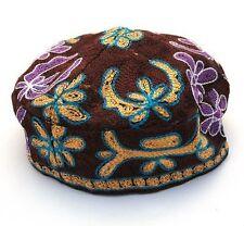Brown Bucharian Buchari Yarmulke Kippah Jewish Kippa Hat Judaica Cap Big