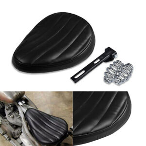 Black Leather Motorcycle Solo Seat Cushion Pad For Harley for Chopper Bobber UK