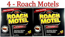 4 Traps Black Flag Roach Motels Cockroach Killer bait Glue Trap Motel