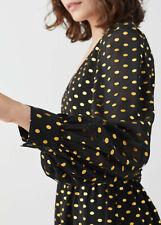 & Other Stories Paris Atelier Black Dress Gold Polka Dot Size EU 34 UK 6