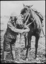 "US Army Soldier & Horse with Gas Masks World War 1, 5.5x4"" Reprint Photo a"