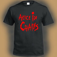 Alice In Chains Logo Metal Rock Band Men's Black T-Shirt Size S-3XL