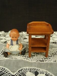 Vintage TONCOSS STARBRIDGE Handcrafted Wood Miniature Dollhouse baby table 1:12