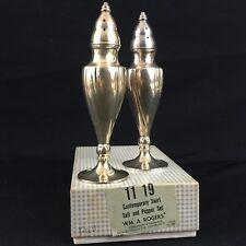 Vtg Salt & Pepper Shaker Set Wm A. Rogers Silverplate Oneida Contemporary Swirl