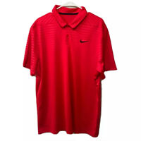 Nike Mens Dri Fit Golf Polo Shirt Red Short Sleeve Collar  XL Activewear