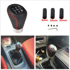 5 Speed Black Leather Gear Shift Knob Stick Manual Shifter Lever For Cars SUV