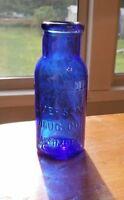 """Antique Cobalt Blue Bromo Seltzer 4"""" Bottle Emerson Drug Co Baltimore MD"""
