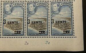 CEYLON 1940-41 SG398 KGVI 3c. ON 6c. SURCHARGE  -  MNH