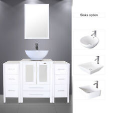 "48"" White Bathroom Vanity 2 Small Side Cabinet & Ceramic Vessel Sink Top Modern"