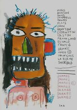 BASQUIAT 0007  -   REPRO DRAWING ON OLD  PAPER   CM 40X30