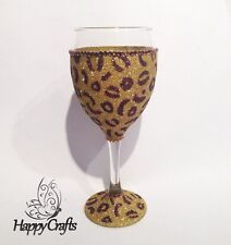 Glitter Sparkle Top & Base Animal Leopard Print Wine Glass Gold & Brown