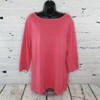 Karen Scott Womens Plus 1X Pointelle Knit Sweater 3/4 Sleeves Pink Orchid