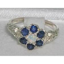 Sapphire Cluster Round Sterling Silver Fine Rings