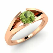 Certified 18k Rose Gold 0.44ctw FINE Natural Peridot Solitaire Engagement Ring