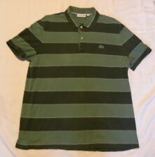 Lacoste Mens Polo Rugby Shirt Size 7 Green Stripe Cotton Regular Fit XXL