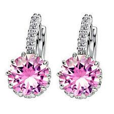 New 1Pair Women Elegant CZ Crystal Rhinestone Silver Plated Ear Stud Earrings
