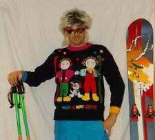 EPIC Retro SKI JUMPER Vintage 80's 90's Ski Neon Stag Apres Ski RETRO