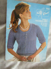 Vintage Knitting Machine Knitting Pattern for Womans 3/4 Sleeve Lacy Sweater