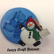 Silicone Mould Xmas Christmas Snowman Shovel Cupcake Topper Sugarcraft Sculpey