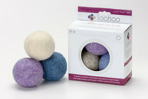 3 Pack LooHoo Lanolin Rich Wool Dryer Balls Wooly Rounds Fabric Softener 105704