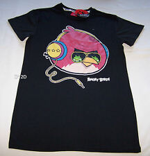 Angry Birds Headphone Mens Black Printed T Shirt Size L New
