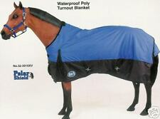 "Horse Waterproof Blanket BLUE 72"" Shoulder Gussets~double belly bands~Tail Cover"