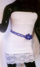 WOMEN BLUE WAIST BRAIDED FASHION BELT WITH BIG FLOWER AND RHINESTONES S M L XL
