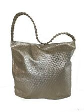 Gold Textured Leather Bag w Braided Handle Design, Casual Handbag, Fashion Purse