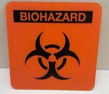 "BIOHAZARD Plastic 6"" X 6"" Orange Sign WALL ART DECOR Man Cave Kids Room Bathroom"