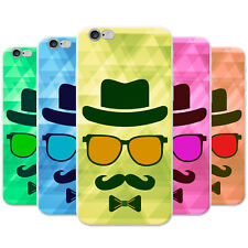 Azzumo Hipster Face / Hipster Moustache Guy Soft Thin Case Cover For the iPhone