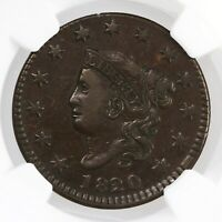 1820/19 Coronet Head 1C Small Date N-2 NGC Certified VF35BN Overdate Large Cent