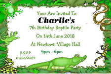 10 Personalised Reptile Invitations / Thank You Cards