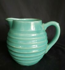 Vintage Green glazed Crock stoneware pitcher, creamer  pottery ribbed pattern.