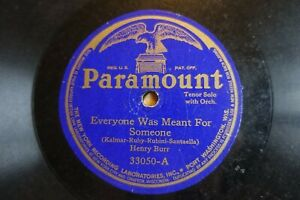 HENRY BURR  78  EVERYONE WAS MEANT FOR SOMEONE  USA PARAMOUNT 33050 (1919) E-/V+