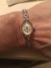 Vintage Ladies HAMILTON 10k White Gold Watch 4 Small Diamonds Runs