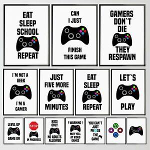 Gamer Gaming Room Prints Adults Kids Bedroom Wall Art Poster Christmas Gift