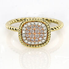 Real 0.30ct Natural Pink Purple Color Diamond Engagement Ring Cushion 18K VS-SI