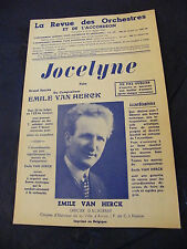 Partition Jocelyne 1955 Emile Van Herck  Music Sheet