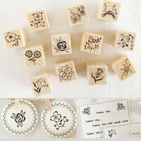 12X Vintage Flower Lace Wooden Rubber Stamp Letters Diary DIY Scrapbook Set L0Z0