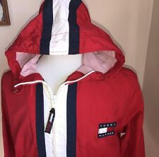VTG Tommy Hilfiger Windbreaker Jacket Flag Logo Colorblock Spell Out Mens Sz Med