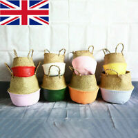 Seagrass Belly Basket Handmade Potted Storage Bags w/Handles Garden Hamper Decor