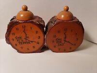 Vintage wooden clocks FISHERMAN'S WHARF SAN FRANCISCO salt and pepper shakers